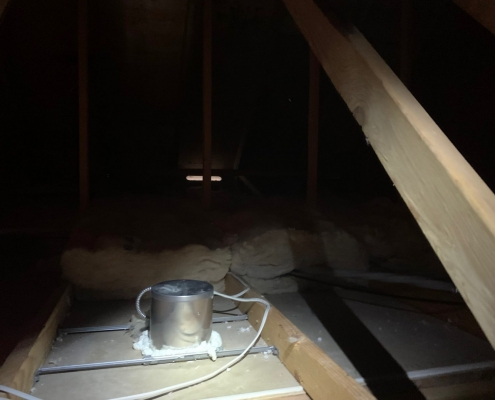 recessed light electrical box airsealed in an attic after insulation have being removed, insulation removal services